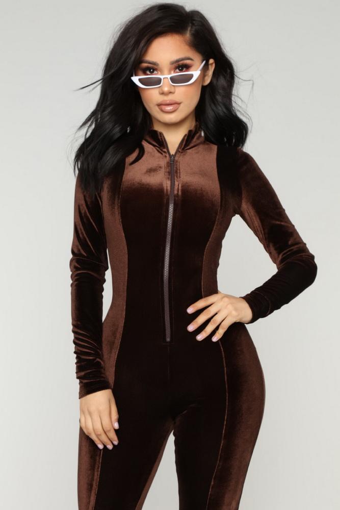 ML21341 Sexy Women Long Sleeve Autumn Velvet Bodycon Jumpsuit