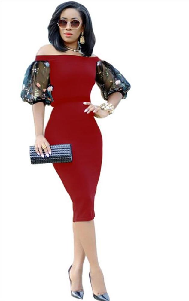 ML22268 Sexy Women Slash Neck Bodycon Pencil Dress