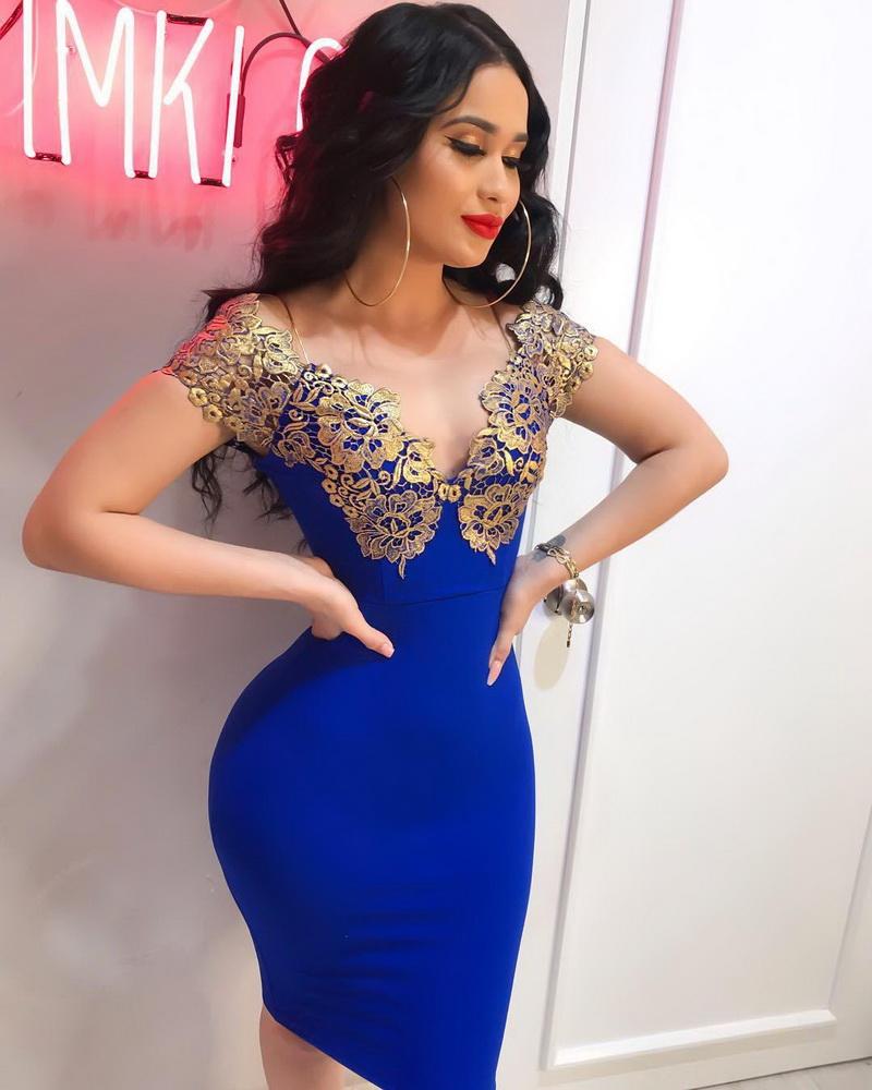ML22265 Sexy Women V-neck Sleeveless Bodycon Lace Party Dress
