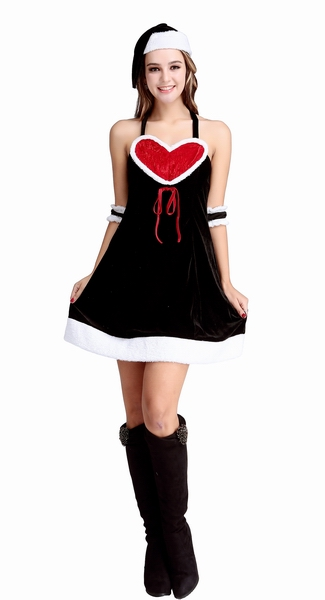 Heart Shape Neckline Backless Sexy Christmas Dress