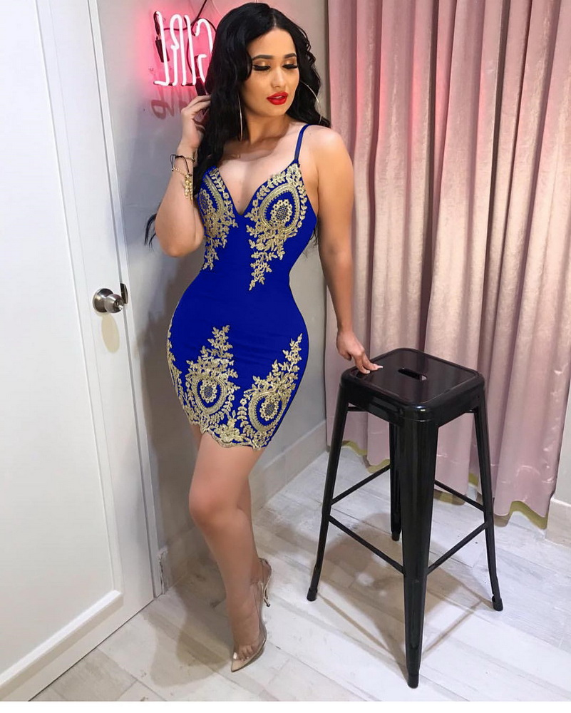 ML22307 Sexy Women Spaghetti Strap Bodycon Lace Party Dress