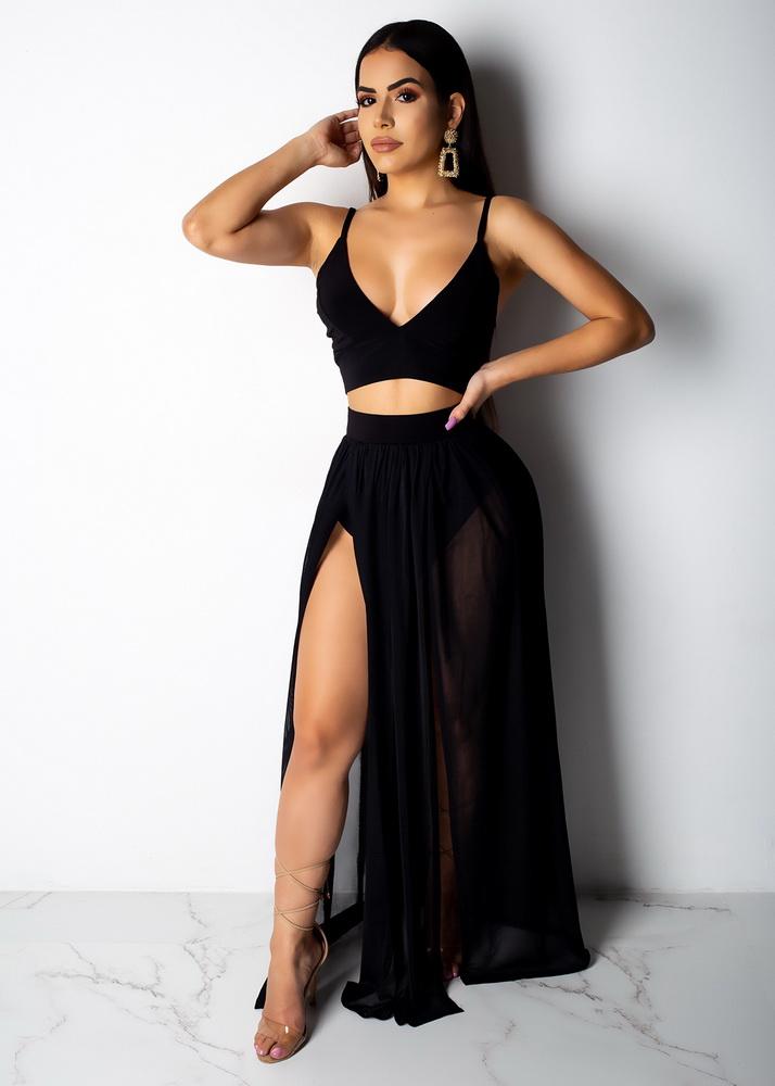 ML22934 Sexy Women Two Pieces Chiffon Elegant Summer Beach Dress