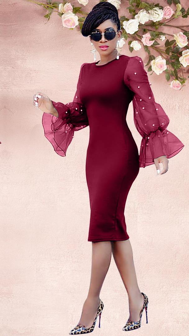 ML22272 Sexy Women O-neck Flare Sleeve Bodycon Beading Party Dress