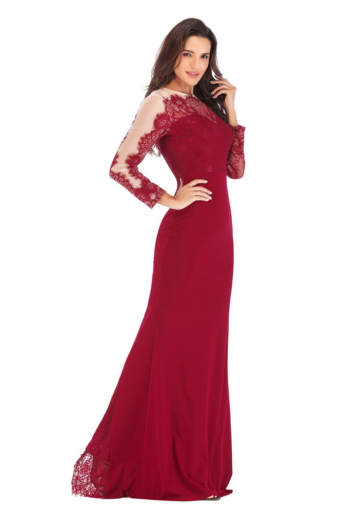 ML21412 Sexy Women O-Neck Long Sleeve Elegant Lace Long Maxi Dress