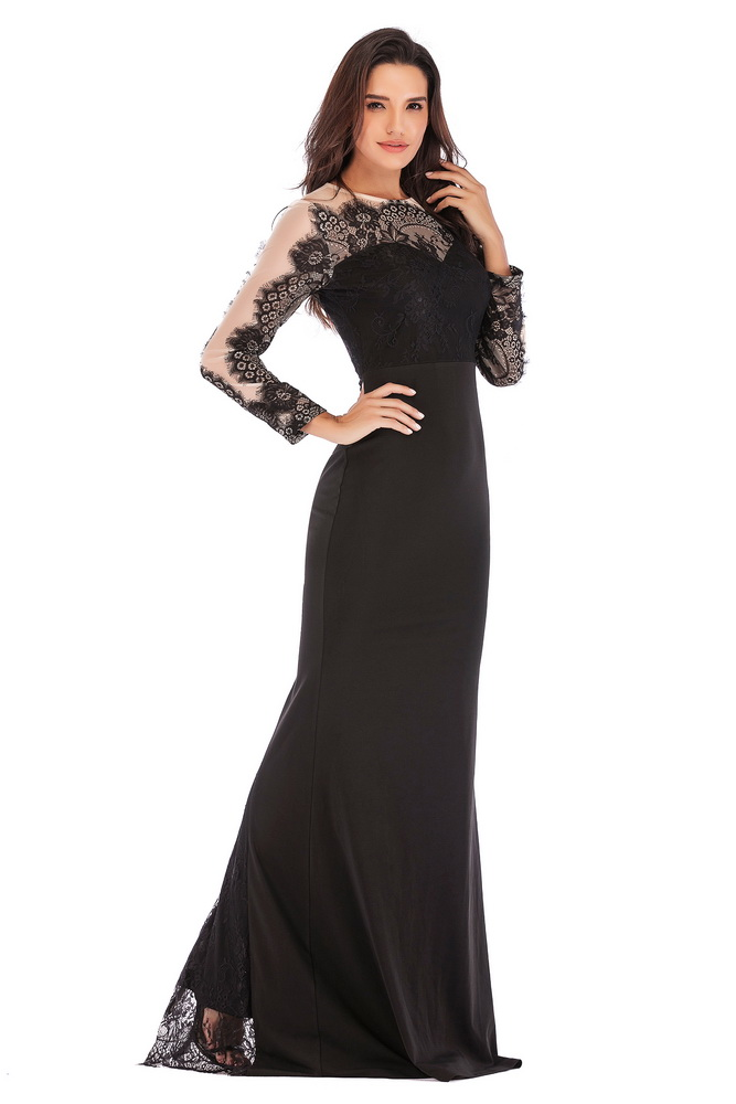 ML21413 Sexy Women O-Neck Long Sleeve Elegant Lace Long Maxi Dress