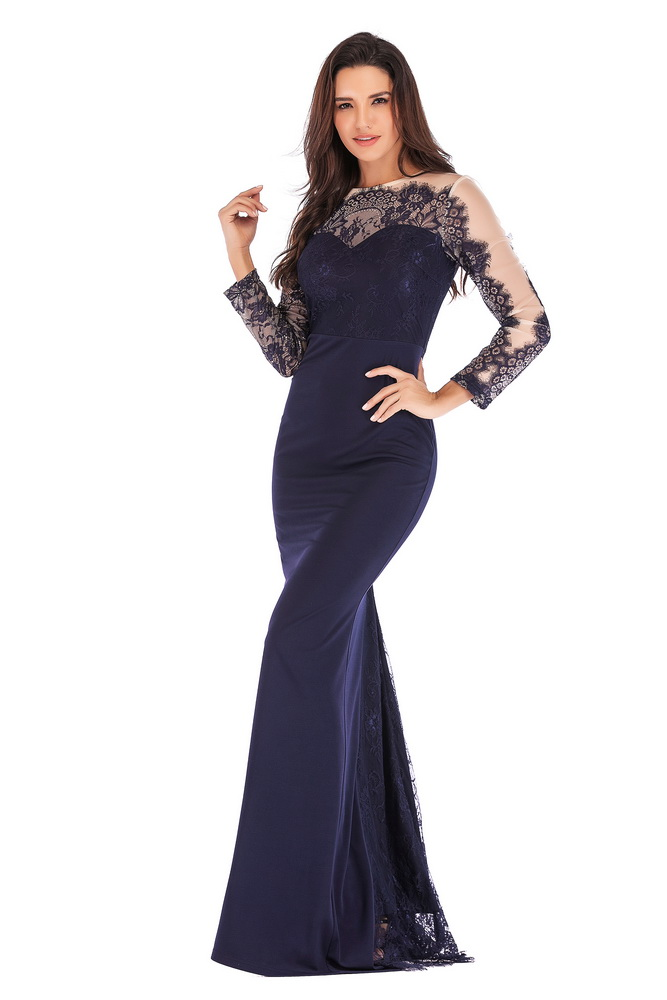 ML21414 Sexy Women O-Neck Long Sleeve Elegant Lace Long Maxi Dress