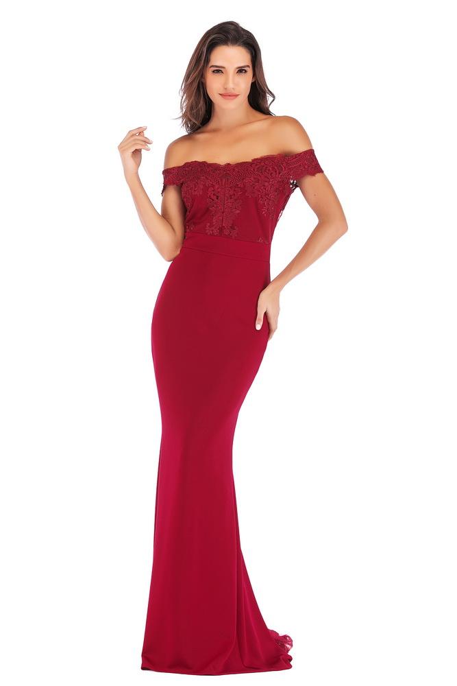 ML21420 Sexy Women Off Shoulder Sleeveless Bodycon Long Maxi Party Dress
