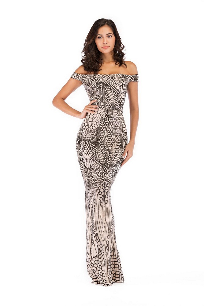 ML22225 Sexy Women Slash Neck Bodycon Sequined Long Party Dress