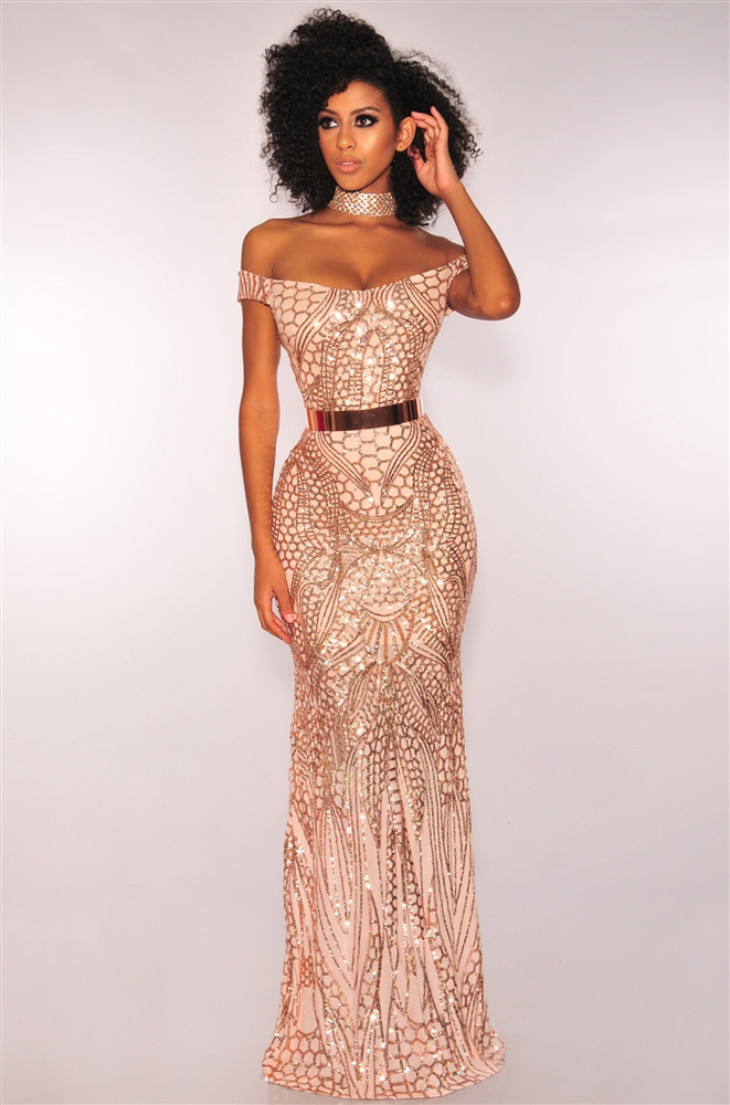 ML21501 Sexy Women Slash Neck Off Shoulder Elegant Sequined Long Evening Party Dress
