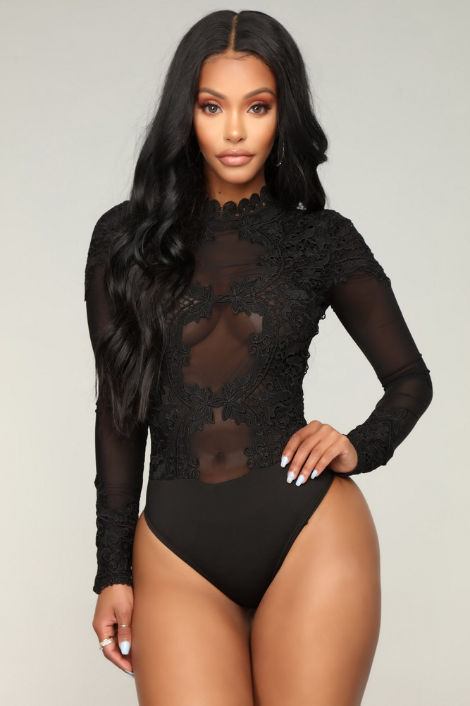 ML21575 Sexy Women O-neck Long Sleeve Bodycon Lace Bodysuit