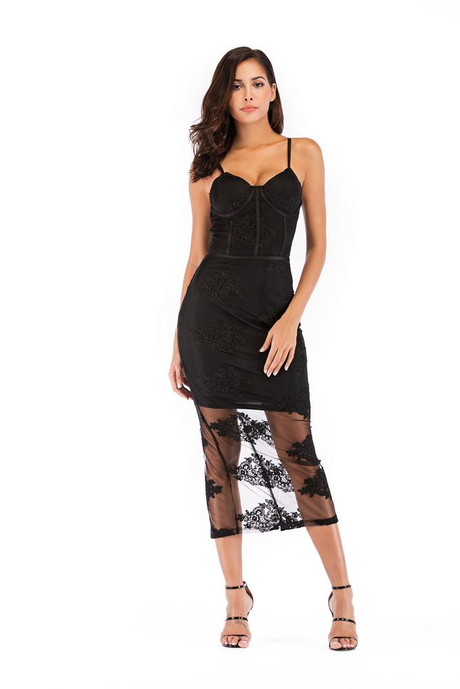 ML21584 Sexy Women Spaghetti Strap Bodycon Spring Lace Party Dress