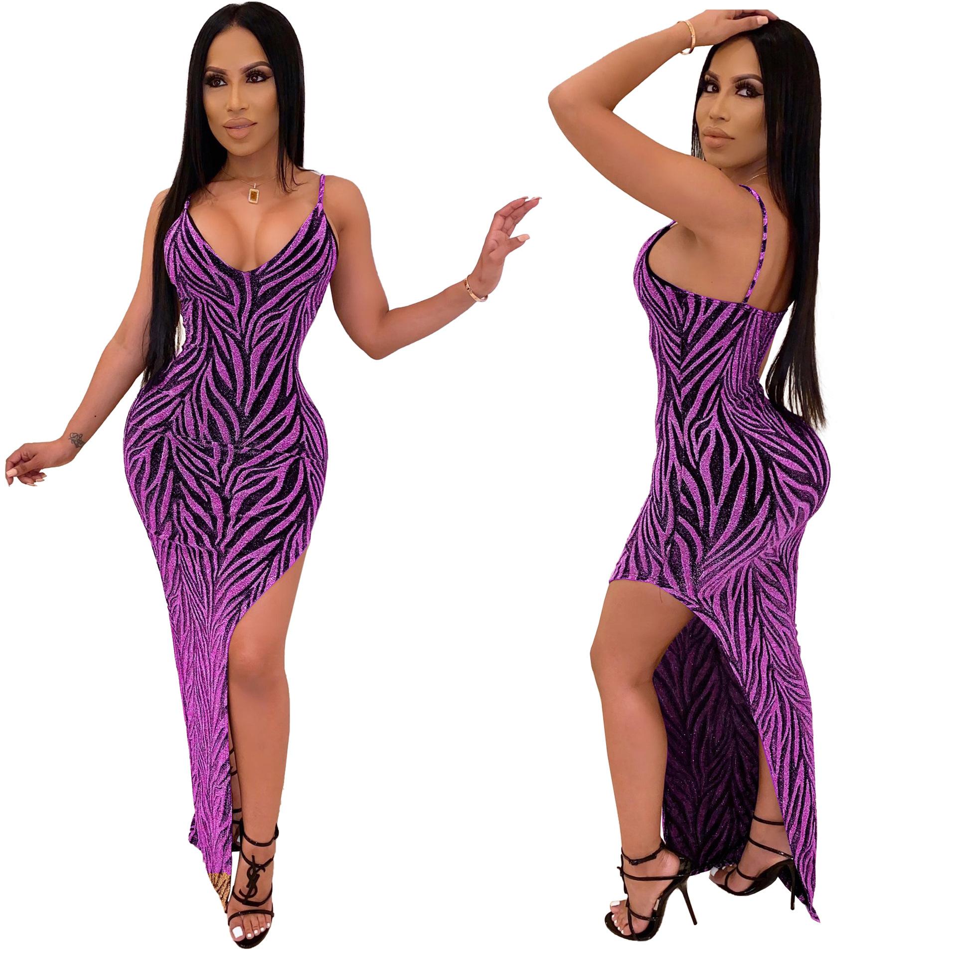 ML22454 Sexy Women Spaghetti Strap Bodycon Shiny Party Dress