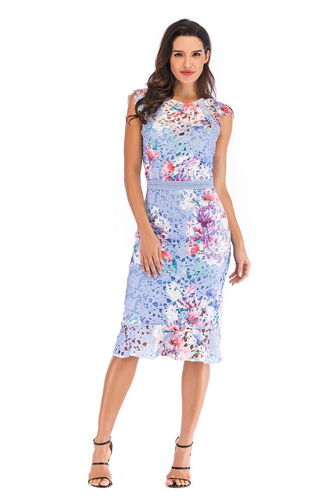 ML21590 Sexy Women O-neck Sleevelesss Lace Bodycon Summer Dress