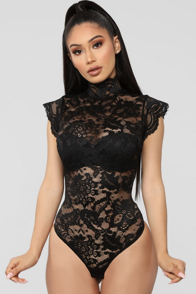 ML21696 Sexy Women O-neck Sleeveless Lace Bodycon Club Bodysuit