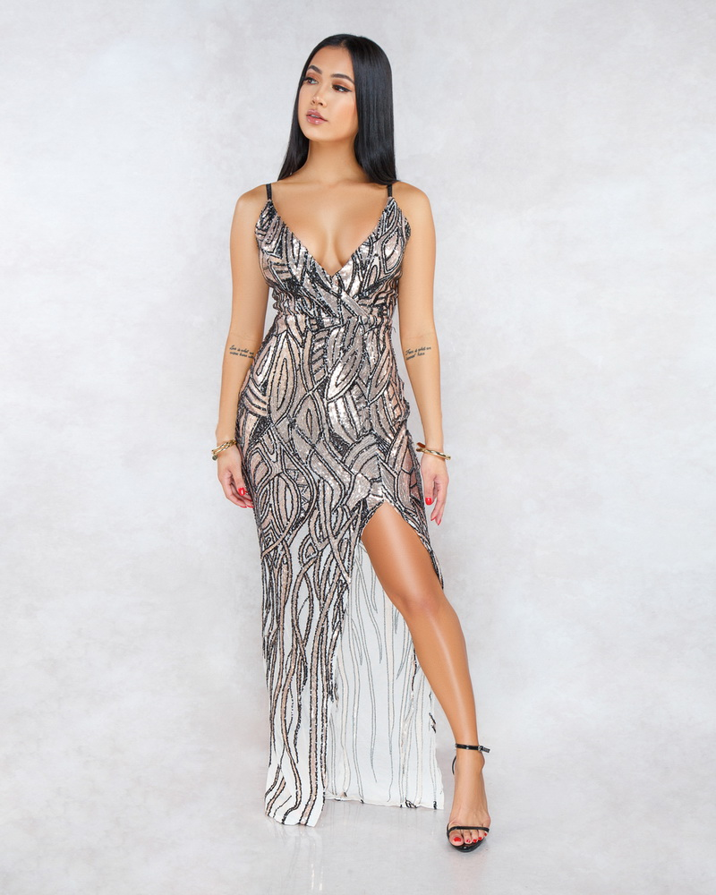 ML21805 Sexy Women Spaghetti Strap Bodycon Sequined Split Party Dress