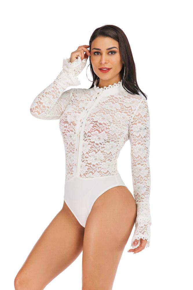ML21744 Sexy Women O-neck Long Flare Sleeve Bodycon Party Bodysuit
