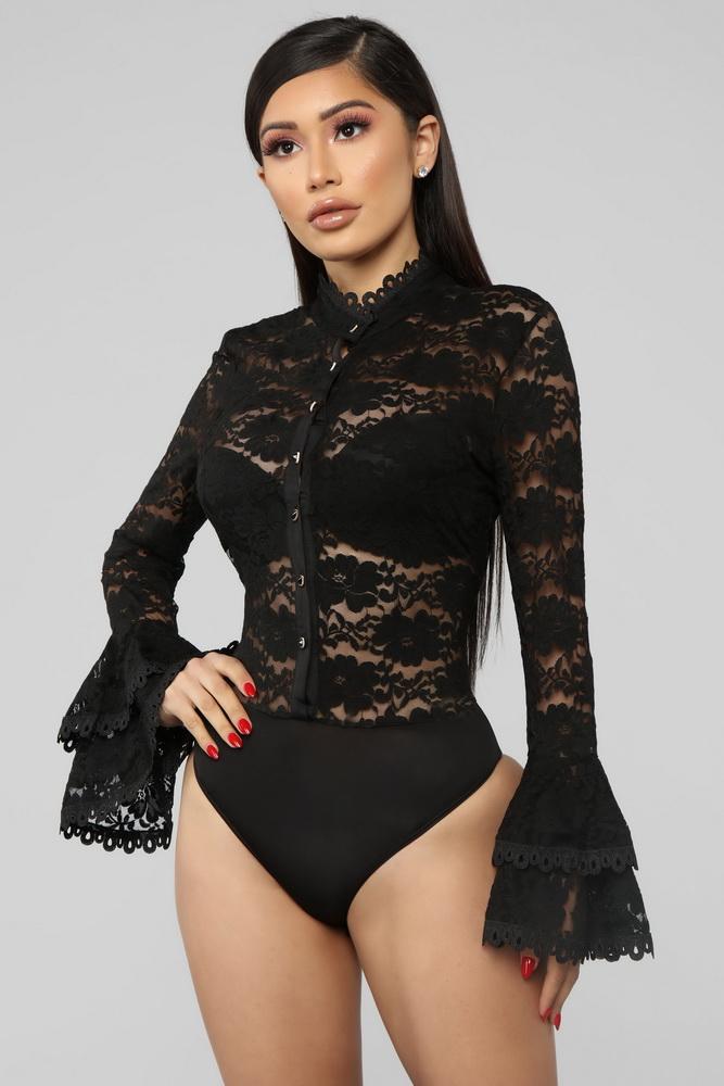ML21745 Sexy Women O-neck Long Flare Sleeve Bodycon Party Bodysuit