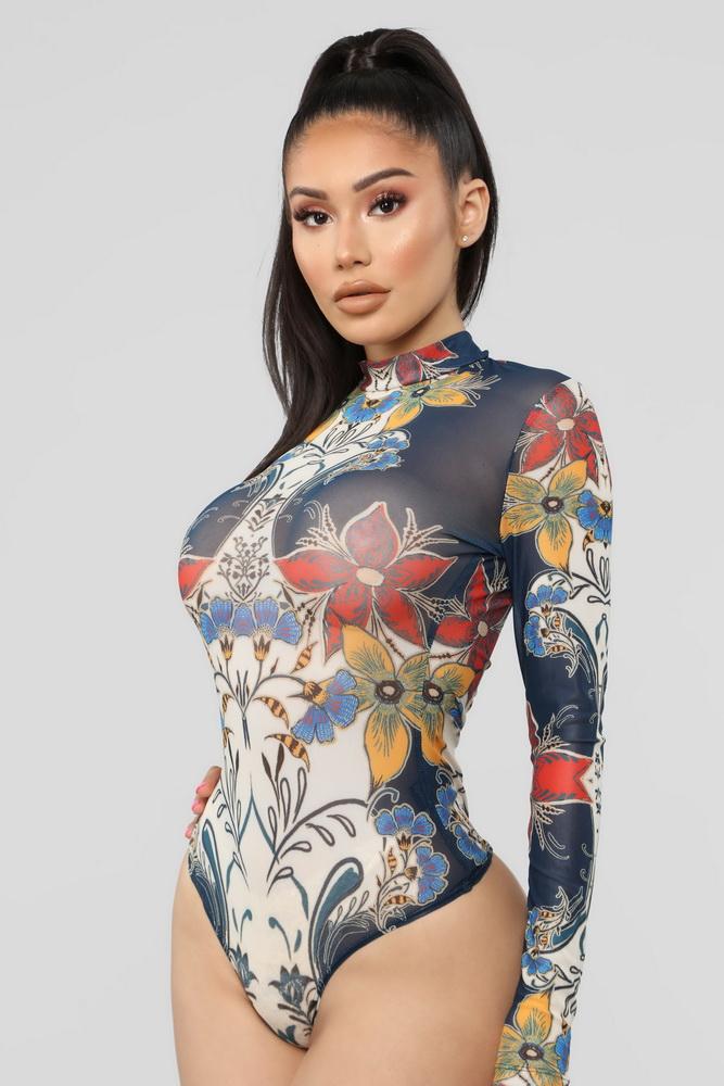 ML22275 Sexy Women O-neck Long Sleeve Bodycon Floral Print Bodysuit