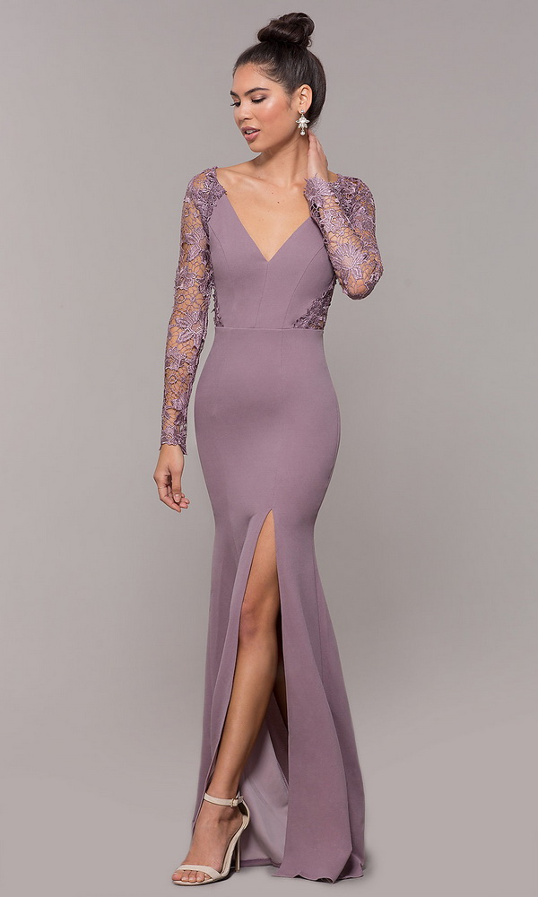 ML21912 Sexy Women V-neck Long Sleeve Bodycon Lace Long Party Dress
