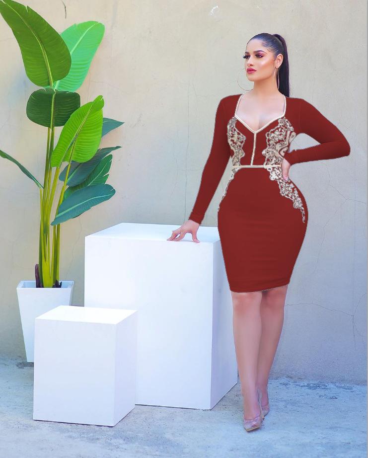 ML22941 Sexy Women V-neck Long Sleeve Bodycon Pencil Dress