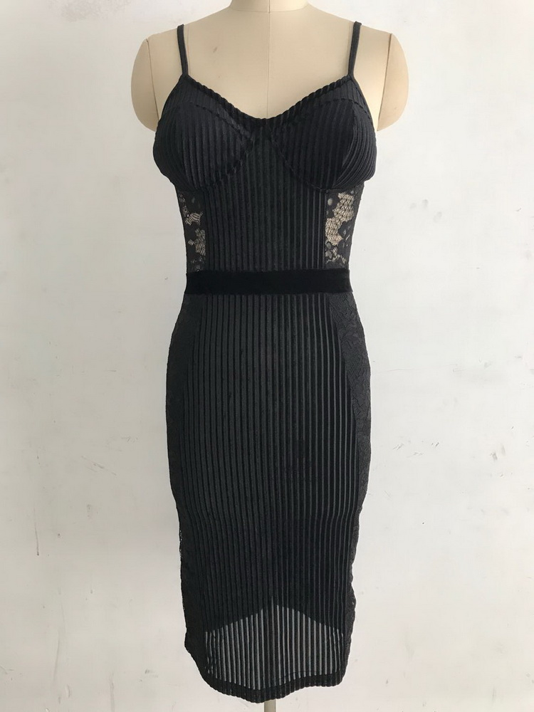 ML22444 Sexy Women Spaghetti Strap Bodycon Mesh Party Dress