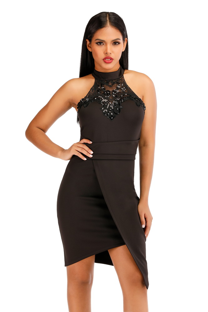 ML22447 Sexy Women O-neck Sleeveless Bodycon Sequined Party Dress