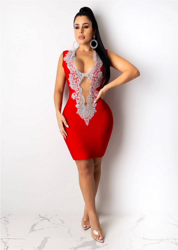 ML22324 Sexy Women V-neck Sleeveless Bodycon Lace Party Dress