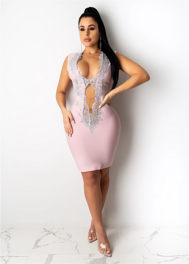 ML22326 Sexy Women V-neck Sleeveless Bodycon Lace Party Dress