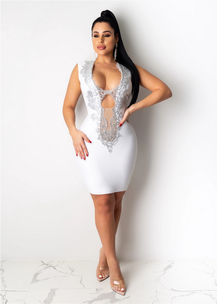 ML22325 Sexy Women V-neck Sleeveless Bodycon Lace Party Dress