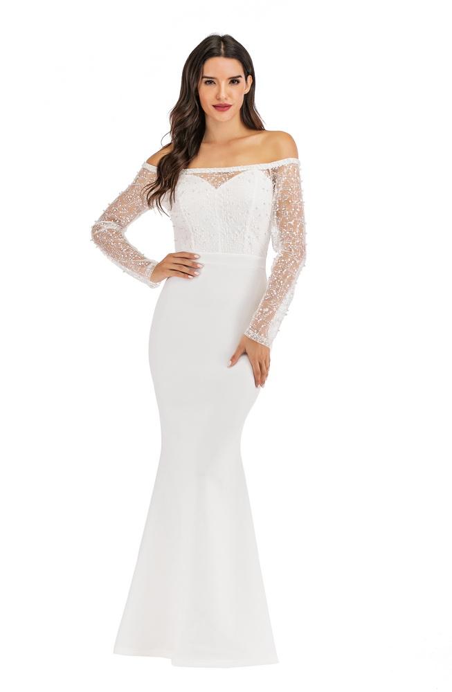 ML22135 Sexy Women Slash Neck Long Sleeve Bodycon Beading Lace Evening Dress