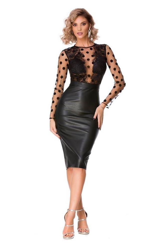 ML22922 Sexy Women O-neck Long Sleeve PU Leather Bodycon Pencil Dress