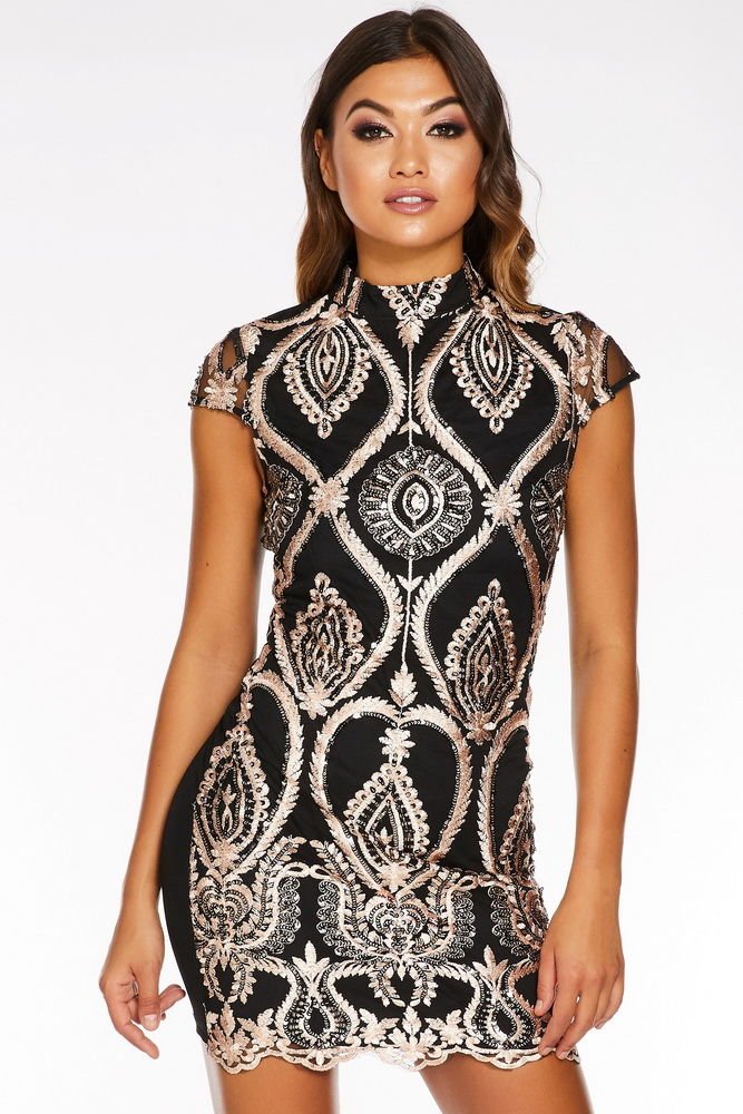ML22263 Sexy Women O-neck Sleeveless Bodycon Sequined Party Dress