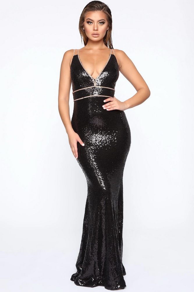 ML22413 Sexy Women V-neck Sleeveless Bodcyon Sequined Party Dress