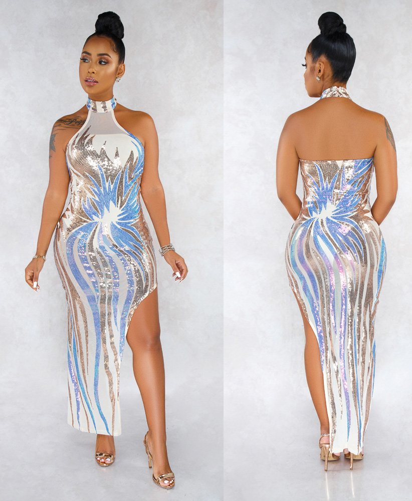 ML22920 Sexy Women O-neck Backless Bodycon Sequined Party Dress