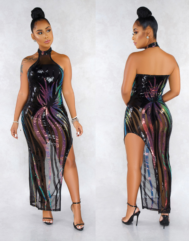 ML22921 Sexy Women O-neck Backless Bodycon Sequined Party Dress