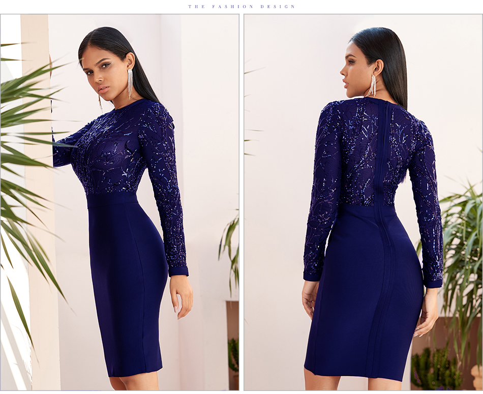 ML22779 Sexy Women O-neck Long Sleeve Sequined Bodycon Party Dress