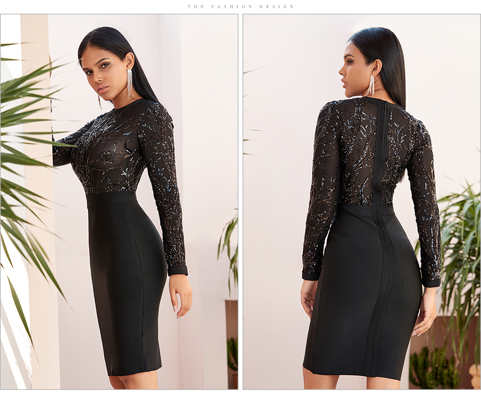 ML22778 Sexy Women O-neck Long Sleeve Sequined Bodycon Party Dress