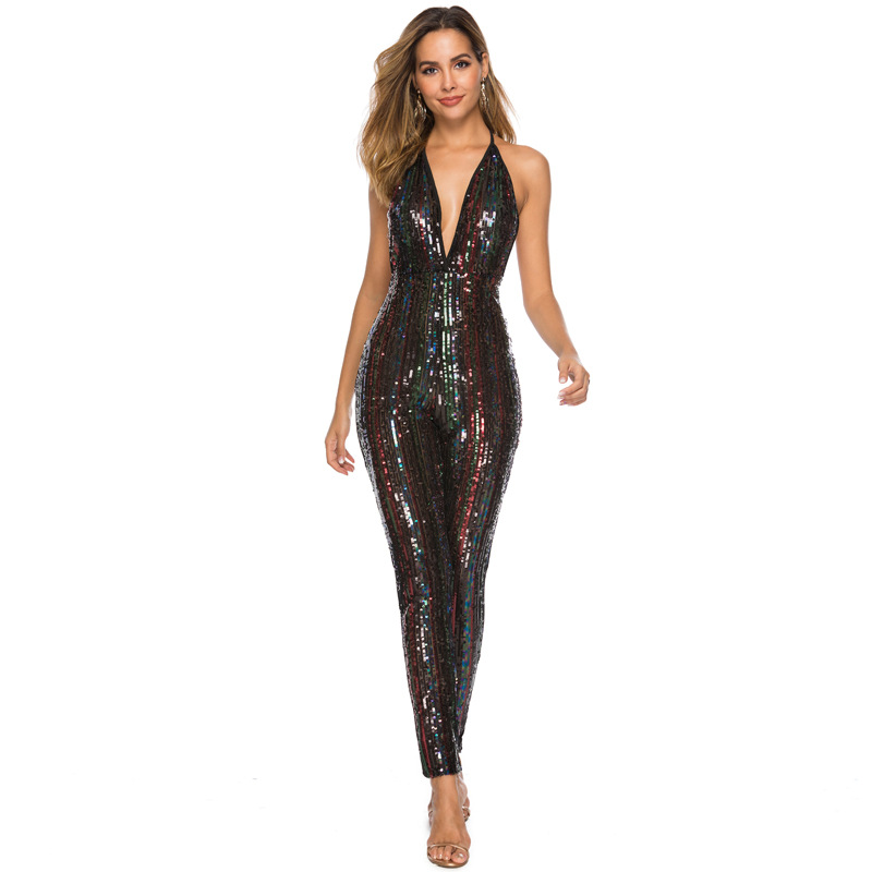 ML22176 Sexy Women V-neck Sleeveless Bodycon Sequined Party Jumpsuit