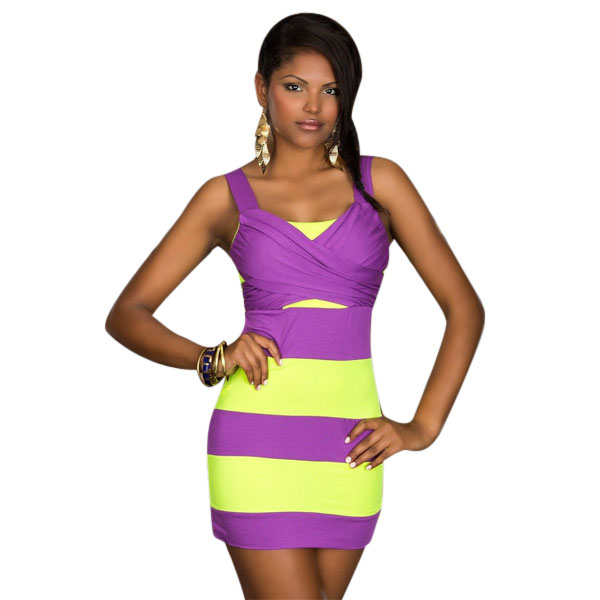 ML18532 Ladies Mini Colorful Sexy Club Dress