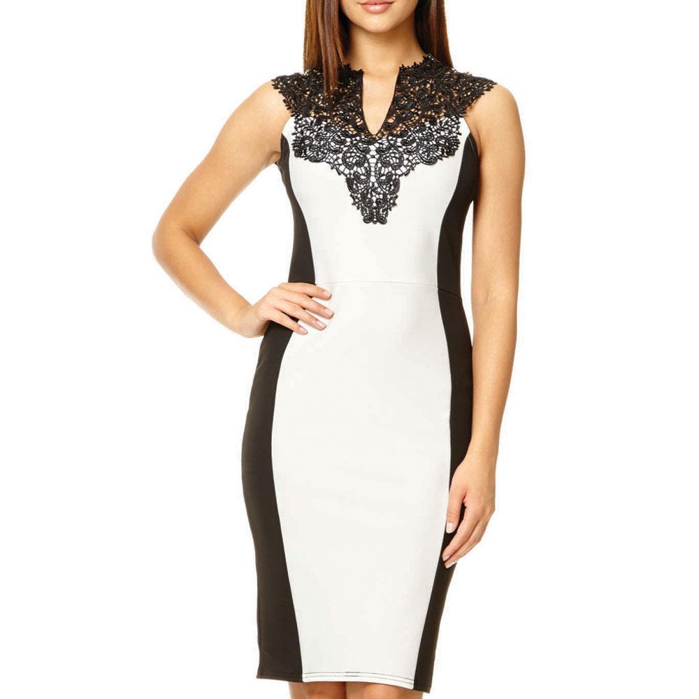 ML18618 Knee Length Sheath Patchwork Women Dress