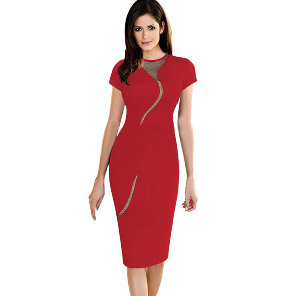 ML18662 Sexy Red Bodycon Bandage Work Dress