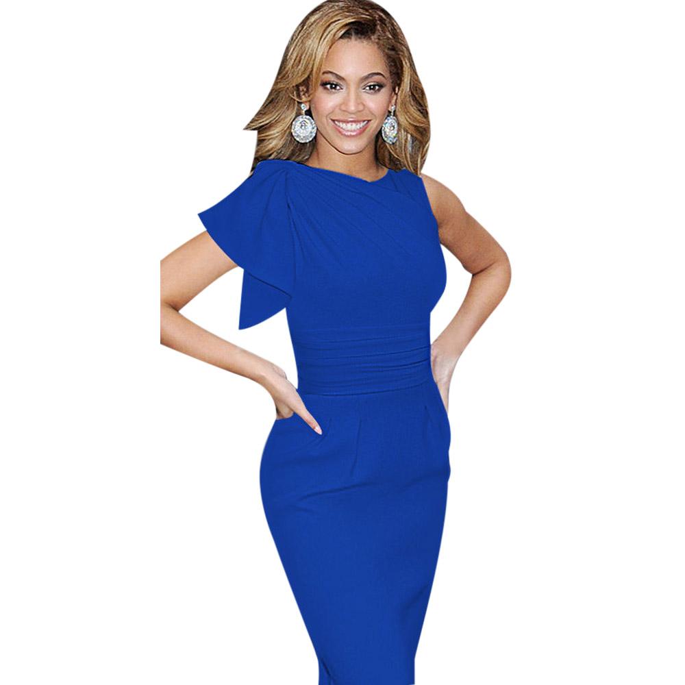 ML18664 Elegant Women Blue Color Sexy Dresses