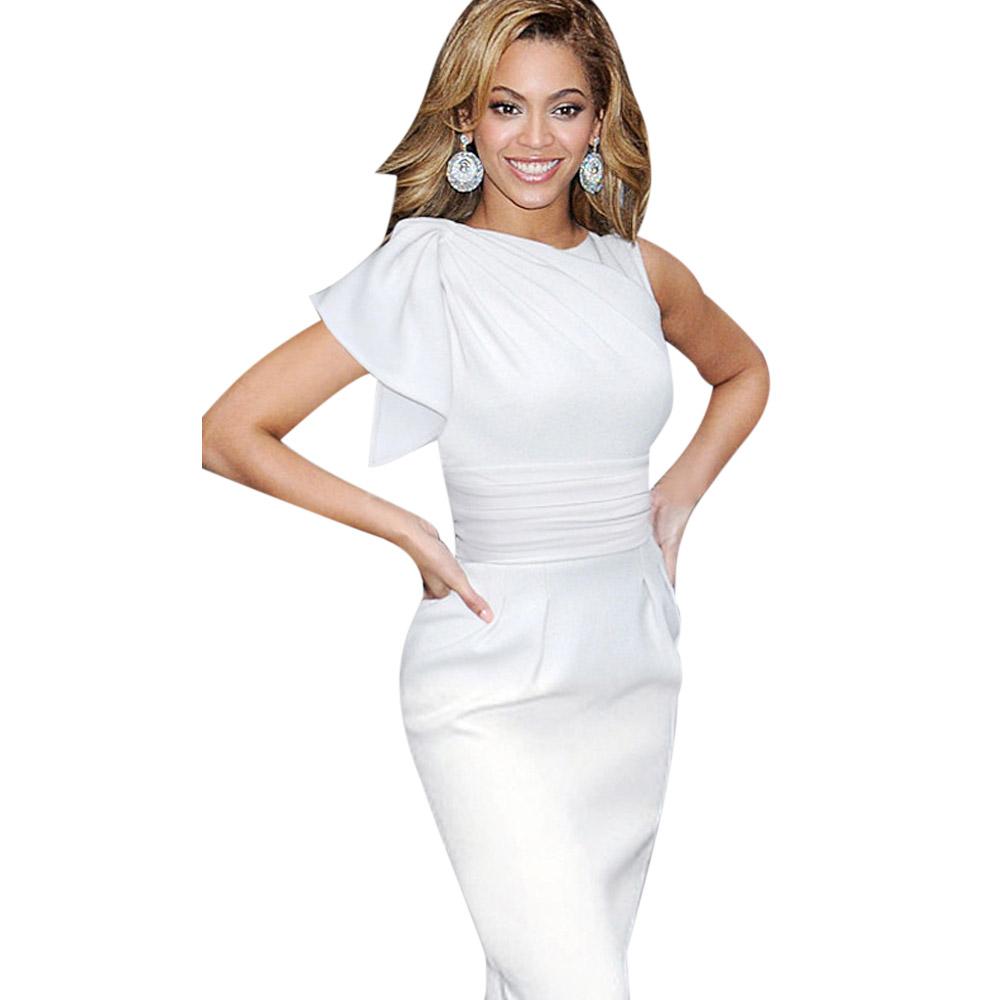 ML18665 Ladies White Bodycon Office Midi Dress