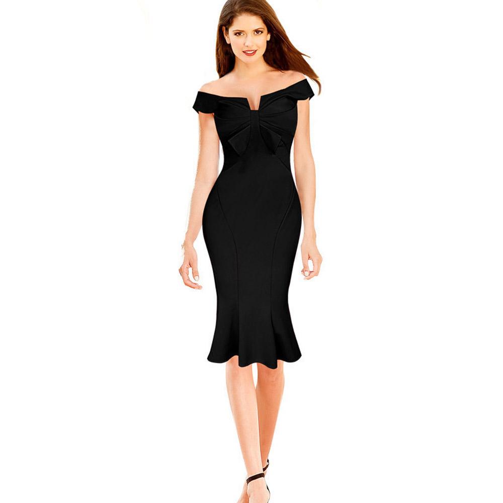 ML18669 Sexy Slash Knee Length Black Dresses