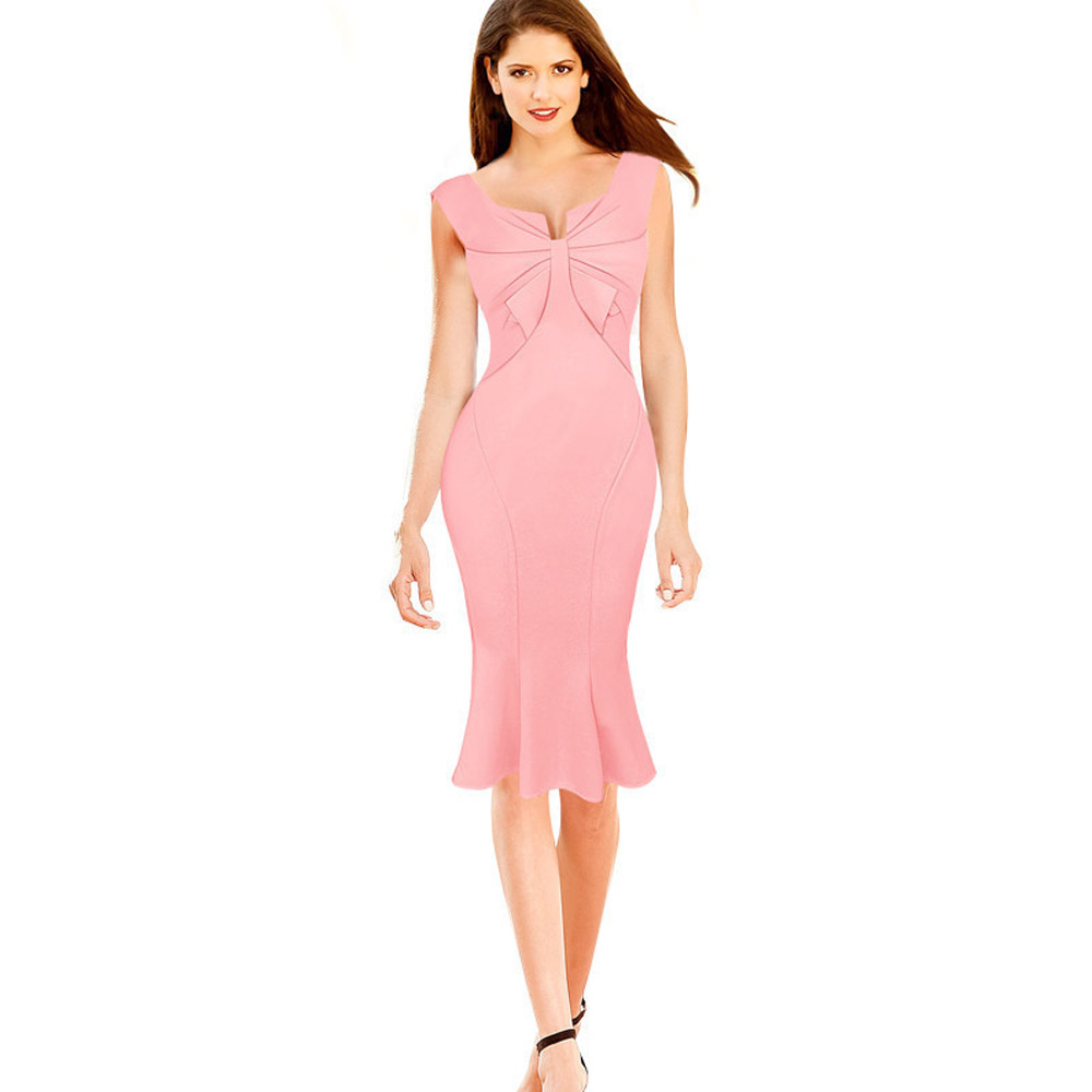 ML18670 Pink Mid Calf Sexy Ladies Dresses