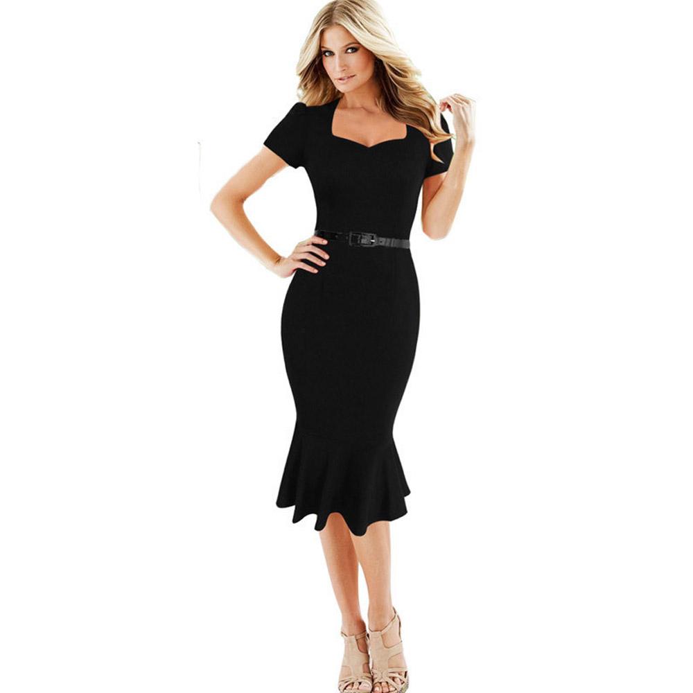ML18693 Elegant Black Short Sleeves Party Dresses
