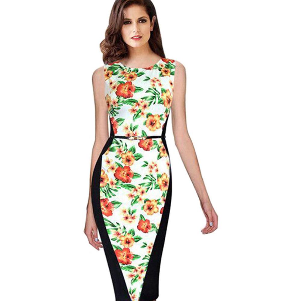 ML18709 Fashion Floral Bandage Knee Length Dress