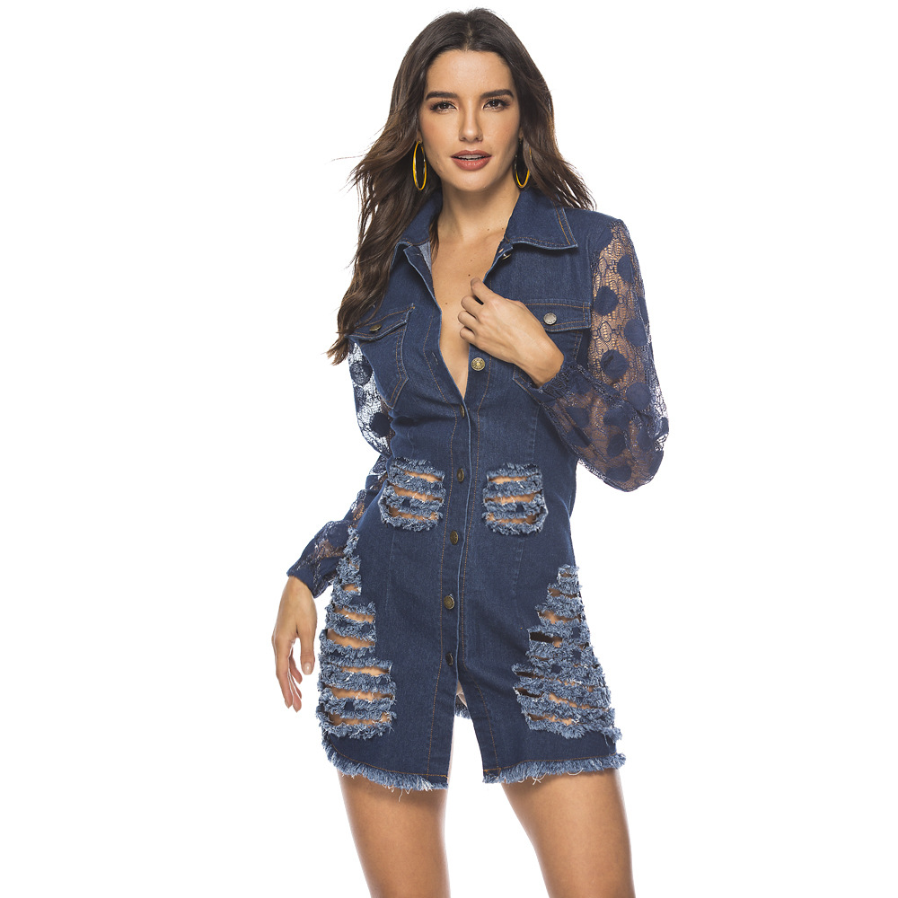 ML21899 Sexy Women Turn Down Collar Long Lace Sleeve Bodycon Denim Casual Dress