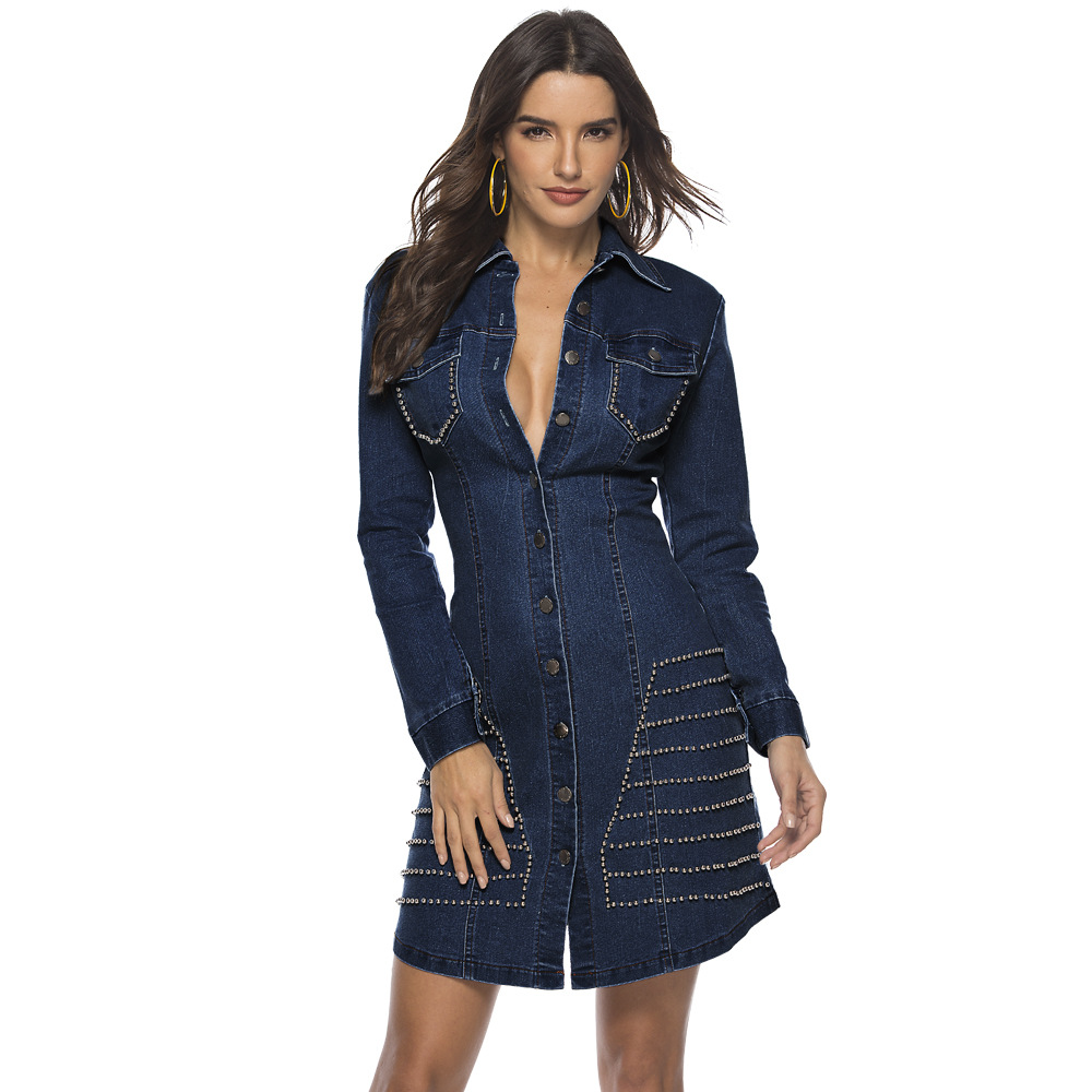 ML21900 Sexy Women Turn Down Collar Long Sleeve Bodycon Denim Casual Dress