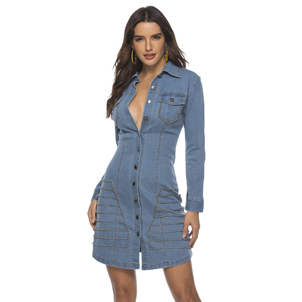 ML21901 Sexy Women Turn Down Collar Long Sleeve Bodycon Denim Casual Dress